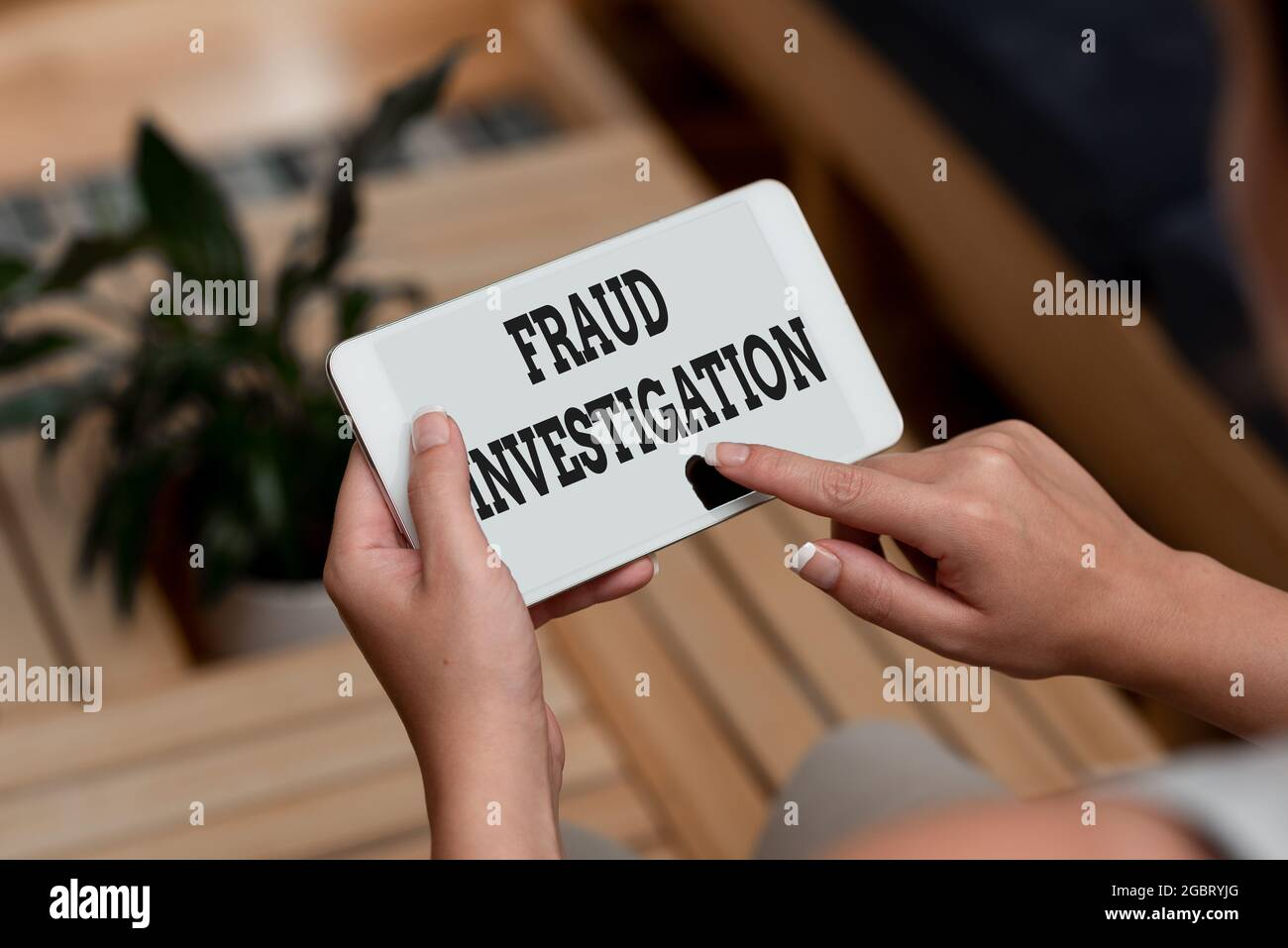 Conceptual caption Fraud Investigation. Business concept process of determining whether a scam has taken place Voice And Video Calling Capabilities Stock Photo