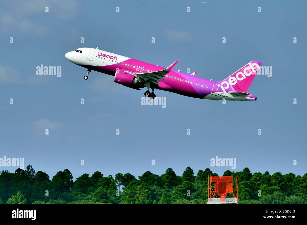 Peach Aviation, Airbus, A320 NEO, JA202P, Take Off, Tokyo Narita Airport, Chiba, Japan Stock Photo
