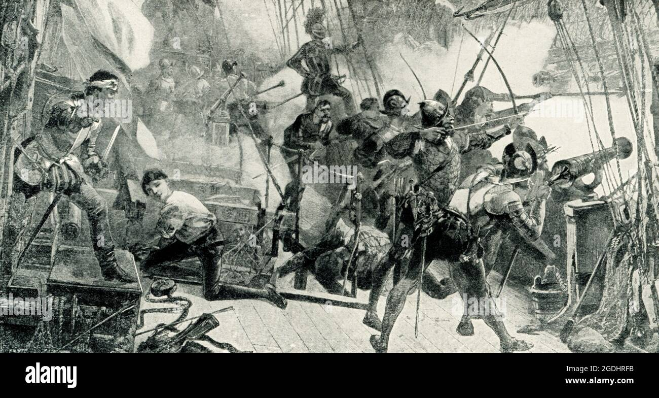 """The 1899 caption reads"""" """"Commodore Perry in the Niagara breaking the British line of Battle Lake Erie Sept 10 1813 painting by J O Davidson."""" In the first unqualified defeat of a British naval squadron in history, U.S. Captain Oliver Hazard Perry leads a fleet of nine American ships to victory over a squadron of six British warships at the Battle of Lake Erie during the War of 1812.TheBattle of Lake Erie, sometimes called theBattle of Put-in-Bay, was fought on September 10, 1813, onLake Erieoff the coast ofOhioduring theWar of 1812. Nine vessels of theUnited States Navydefeated and ca Stock Photo"""