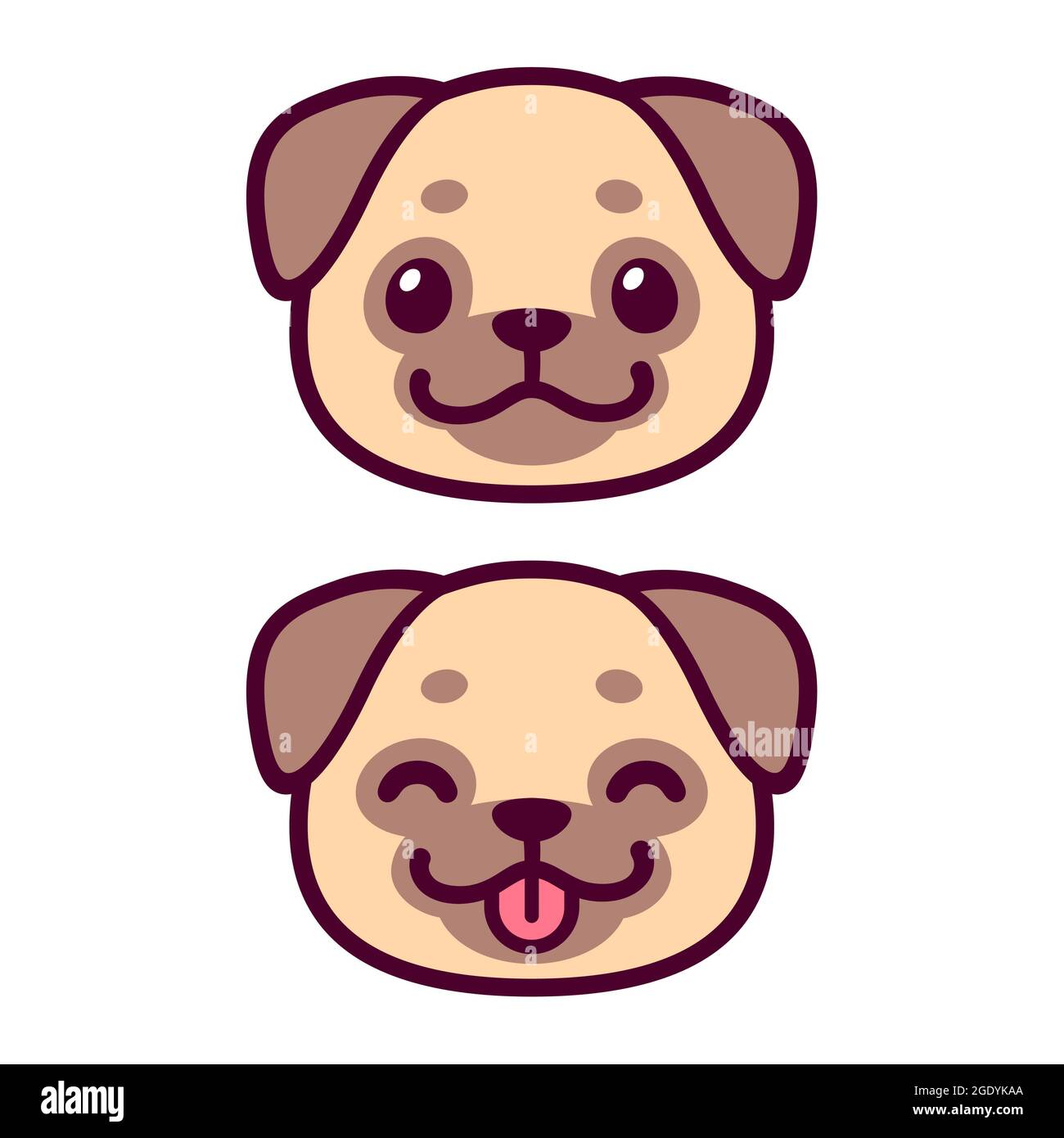 Cute cartoon pug face drawing. Kawaii dog portrait smiling with tongue out. Vector clip art illustration. Stock Vector