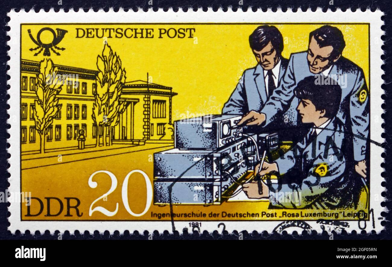 GERMANY - CIRCA 1981: a stamp printed in Germany shows School of Engineering, Leipzig, circa 1981 Stock Photo