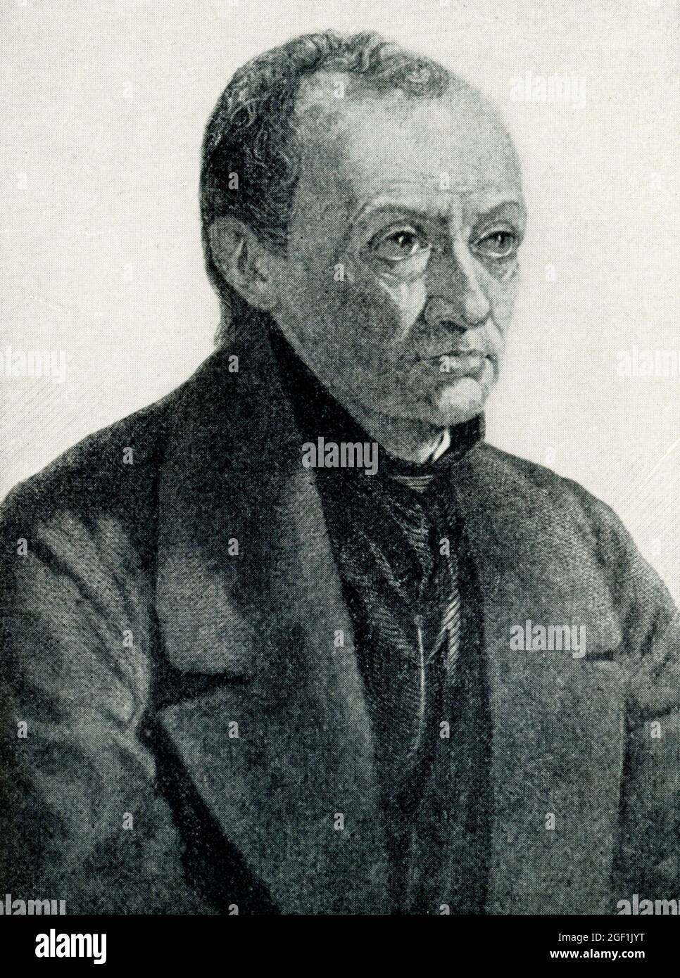 """This 1899 illustration shows: """"Auguste Comte."""" Auguste Comte (1798–1857) is a French philosopher and the founder of positivism, a philosophical and political movement which enjoyed a very wide diffusion in the second half of the nineteenth century. Stock Photo"""