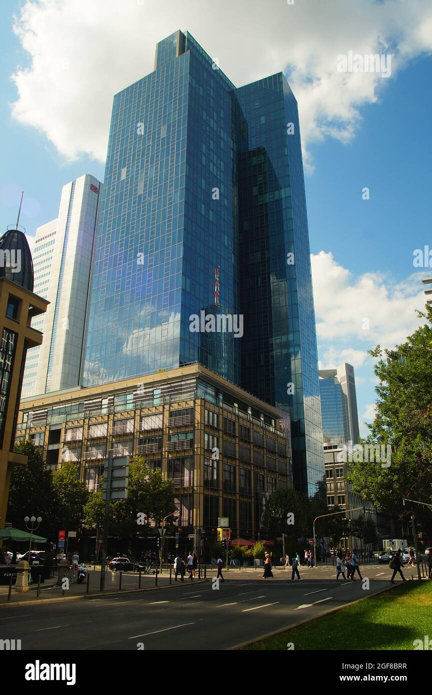 FRANKFURT, GERMANY - Aug 20, 2021: The Gallileo tower in Frankfurt, Germany. Built by Dresdner Bank, now Commerzbank after the takeover. Completed in Stock Photo
