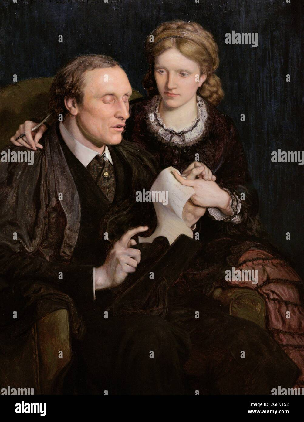 Henry Fawcett (1833-1884). British academic and economist, blind due to a shooting accident. Millicent Garrett Fawcett (1847-1929). English suffragist activist and writer. Portrait of the Fawcett couple by Ford Madox Brown (1821-1893). Oil on canvas (108,6 x 83,8 cm), 1872. National Portrait Gallery. London, England, United Kingdom. Stock Photo