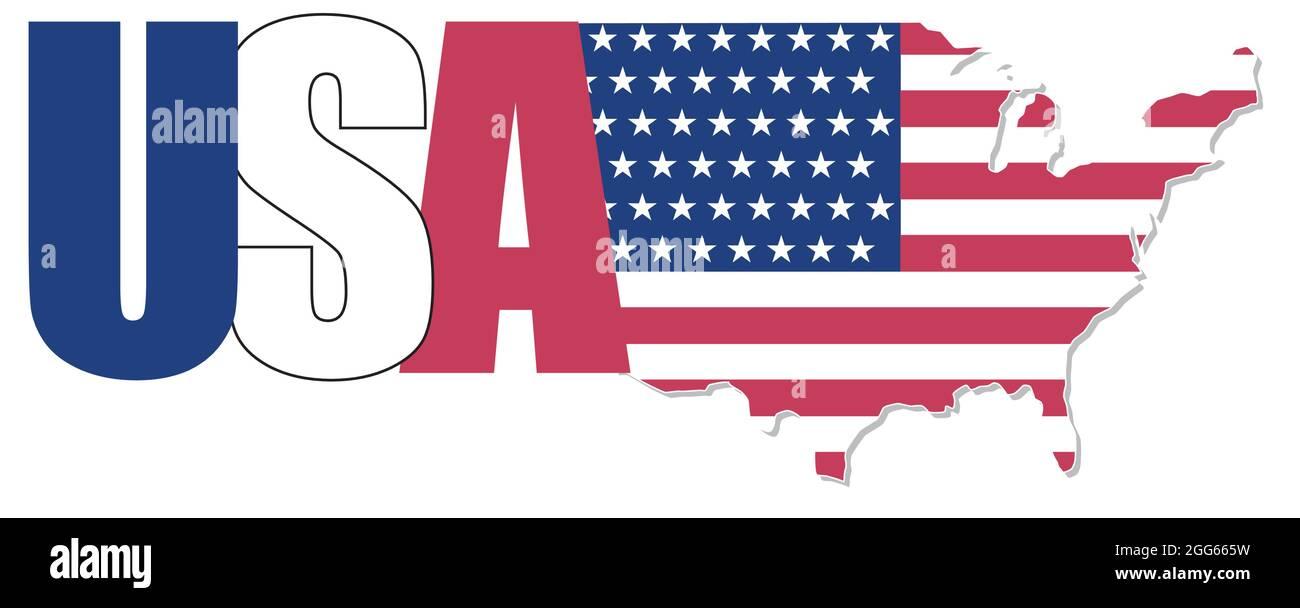 creative modern vector text logo with USA map Stock Vector