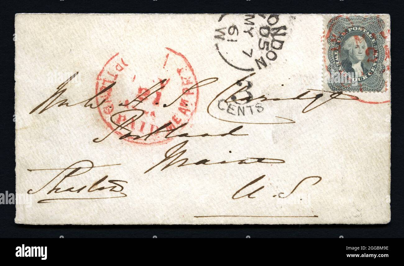 24c Washington used abroad at London on cover, 1861. This cover is said to be addressed in Charles Dickens' handwriting. The U. S. Stamp was apparently sent to Dickens in England to ensure a reply. He put the stamp on his reply and it was canceled upon arrival in Portland, Maine. Stock Photo