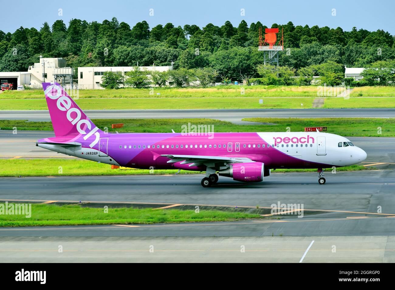 Peach Aviation, Airbus, A320 CEO, JA826P, Taxiing,Tokyo Narita Airport, Chiba, Japan Stock Photo