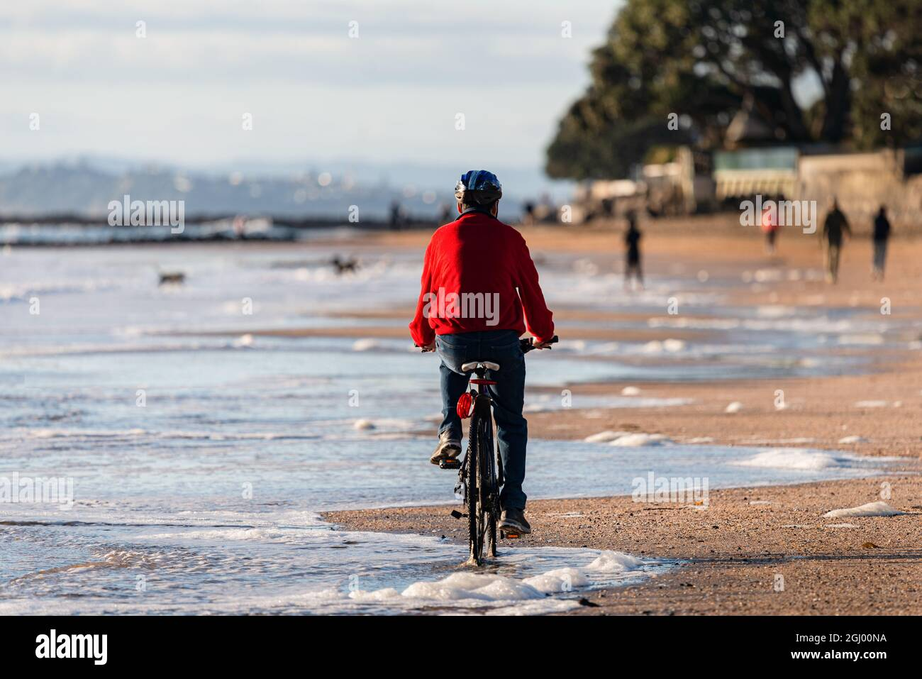 A cyclist riding along Milford beach in Auckland, with out-of-focus people walking and dogs playing on the beach. Stock Photo