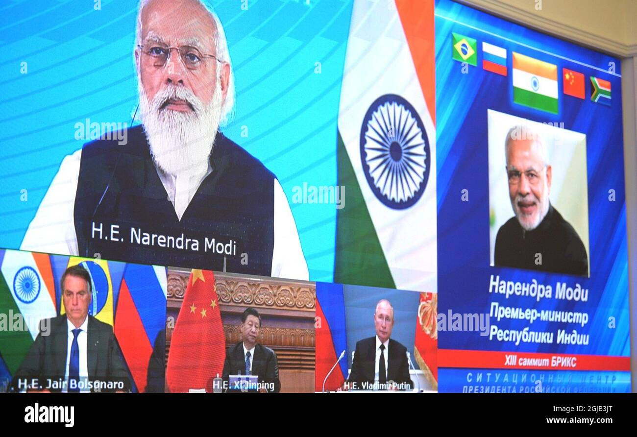 September 9, 2021. - Russia, Moscow. - A screen shows attendees of the 13th BRICS  Summit held via videoconference Stock Photo - Alamy