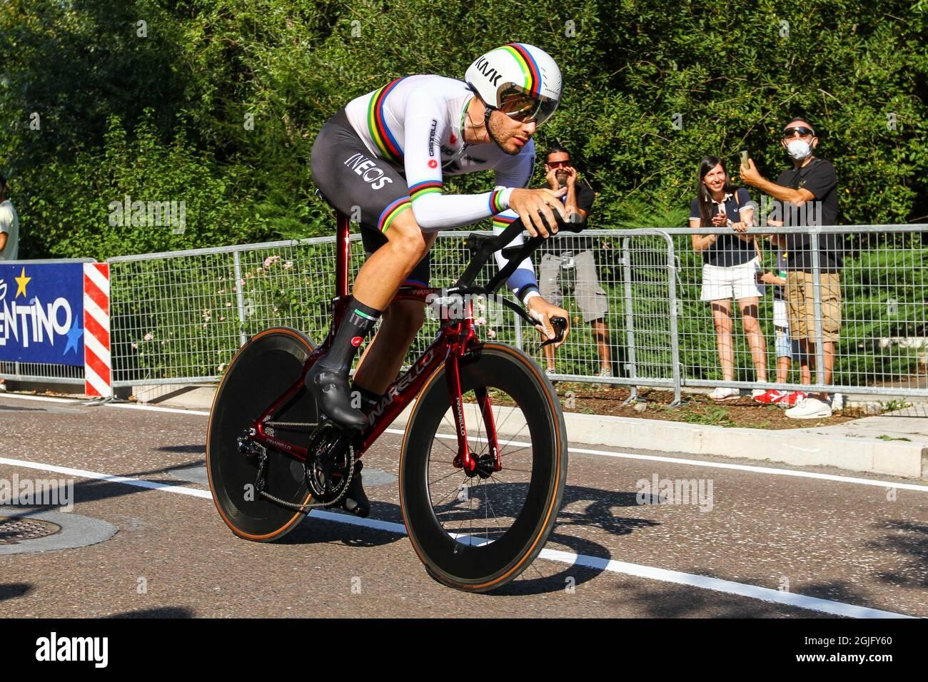Trento, Italy. 09th Sep, 2021. Filippo GANNA (ITA) during UEC Road European  Championships - Elite Men Individual