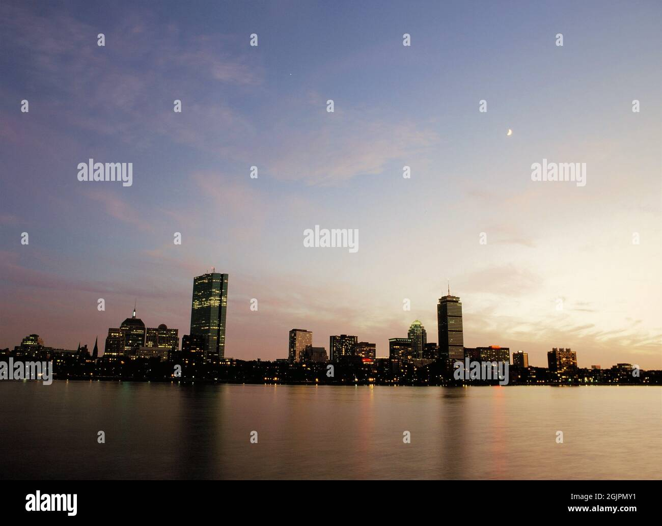 Boston Skyline at twilight from the Charles River Stock Photo