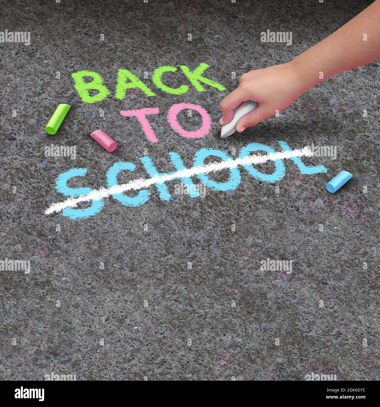 School closure and Back to school cancellation as a chalk drawing on concrete sidewalk with the hand of a child holding a color. Stock Photo