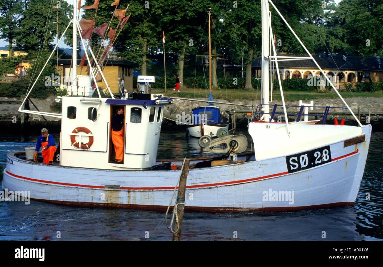 Island Aero Aeroskobing Denmark Fishing boat sea - Stock Image