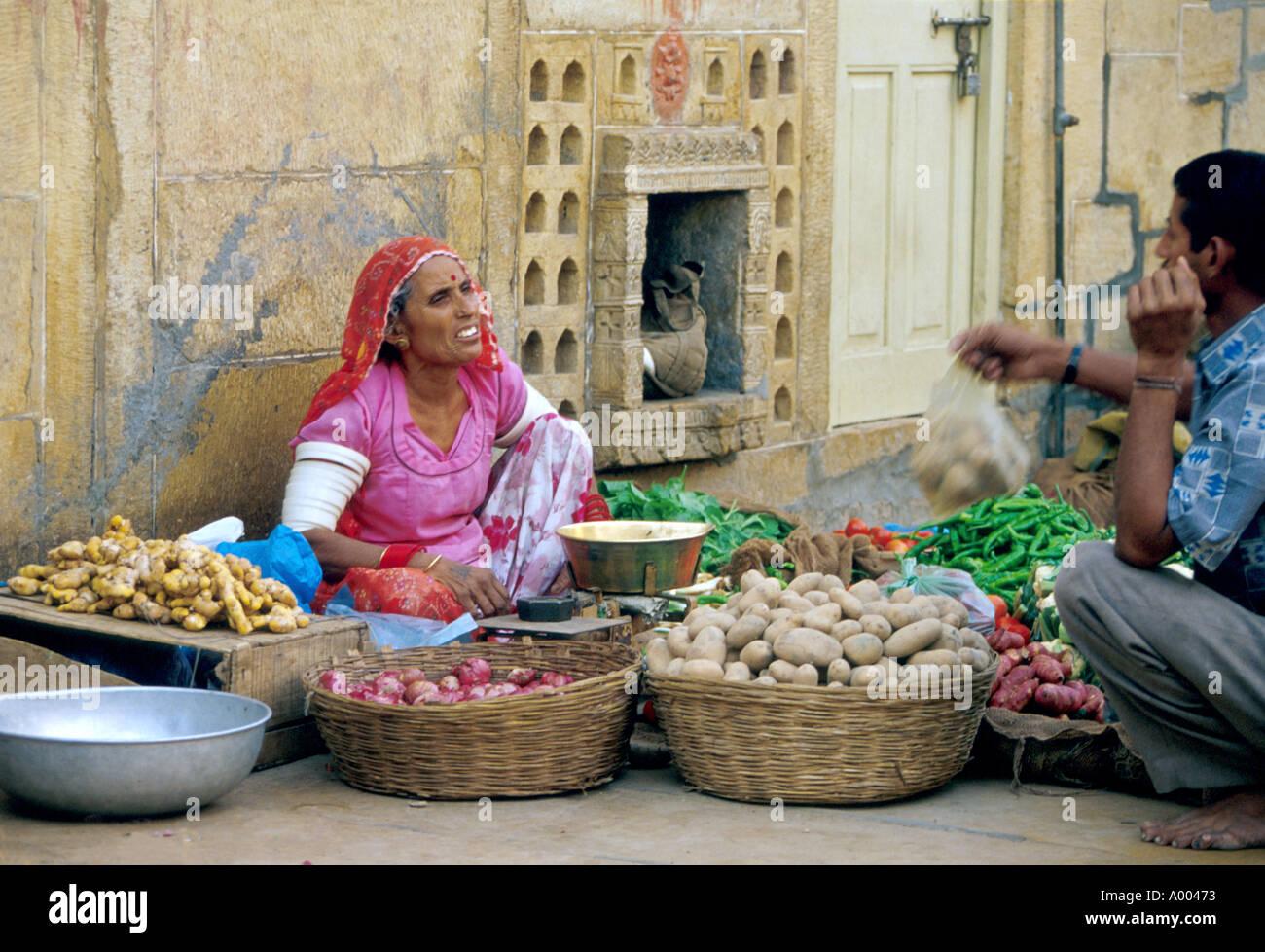 Street Seller, Jaiselmer, Rajasthan, India Stock Photo