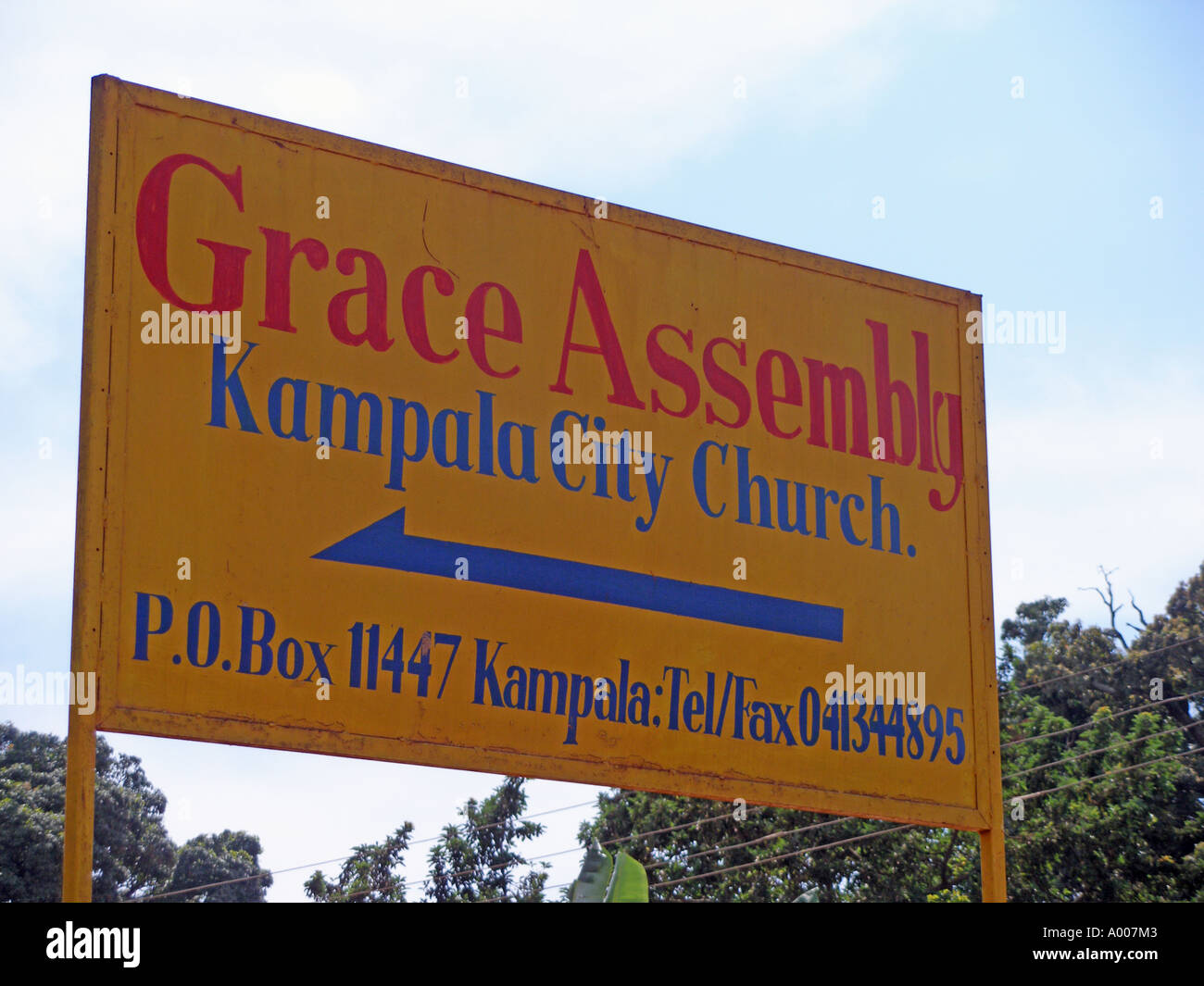 Signboard for Grace Assembly pentecostal church, Kampala, Uganda - Stock Image