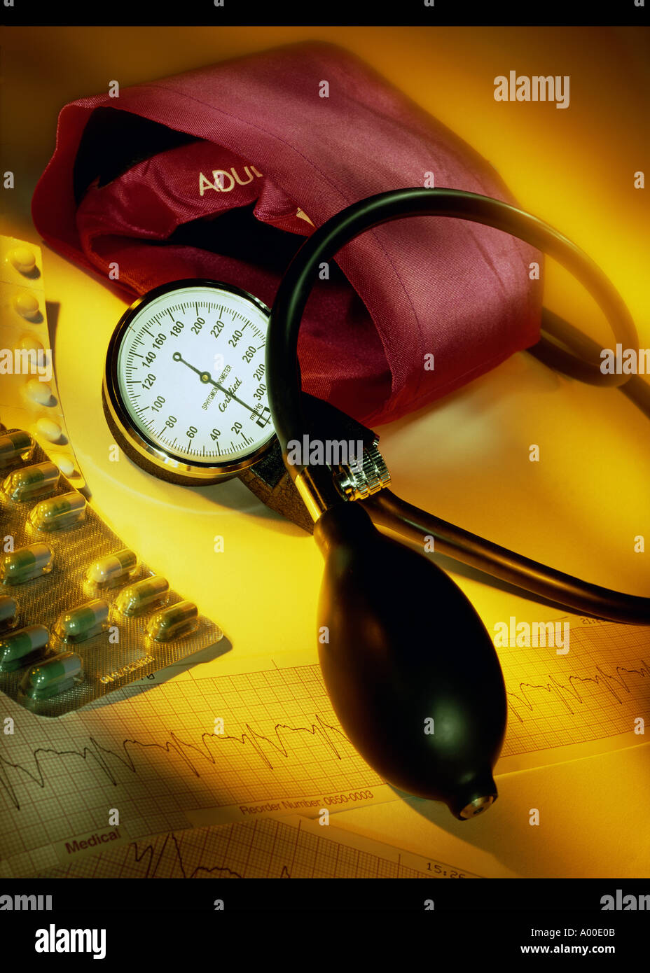 Sphygmomanometer - used for taking blood pressure - Stock Image