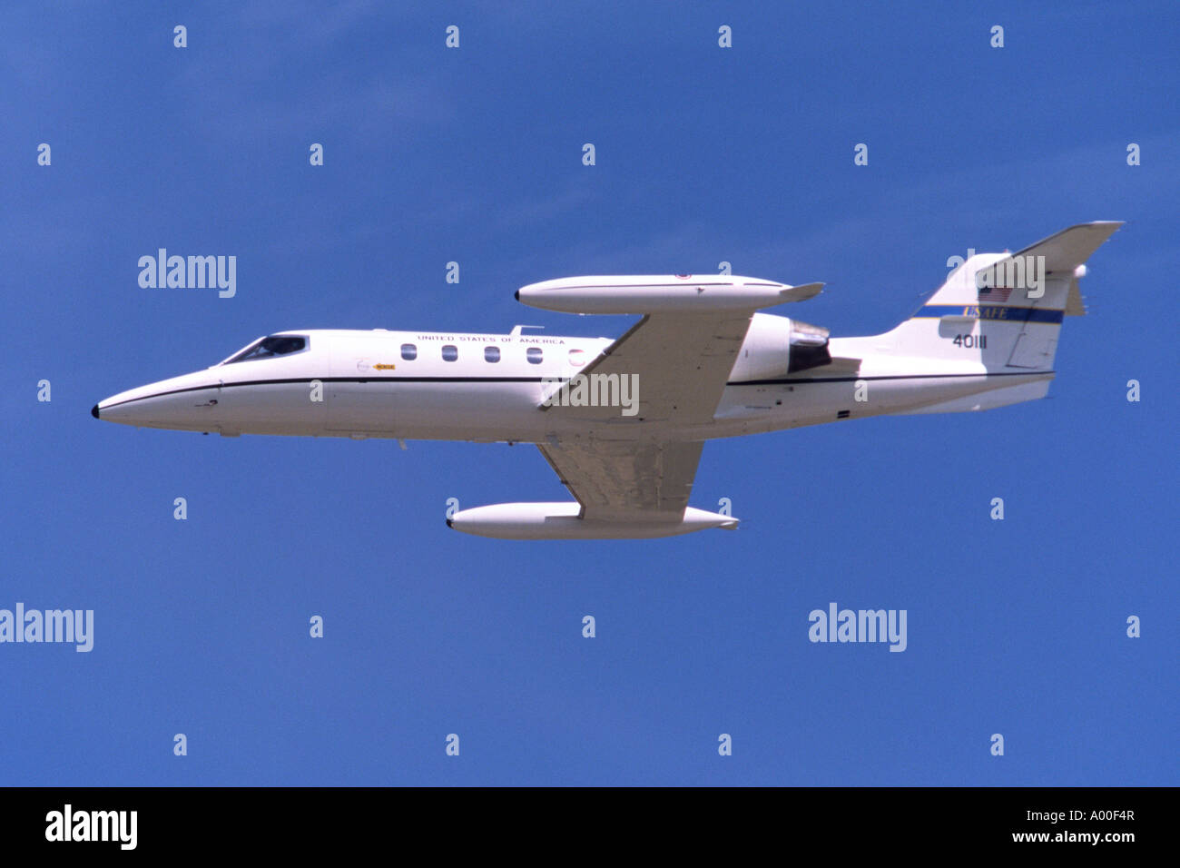 Gates C-21A Learjet executive jet operated by the US Air Force departing RAF Fairford - Stock Image