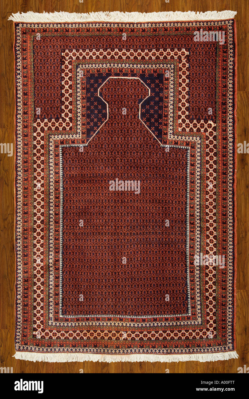 prayer religion Islam Islamic Moslem Carpet rug Iran Iranian Persia Persian near Middle East regional region Asia Stock Photo