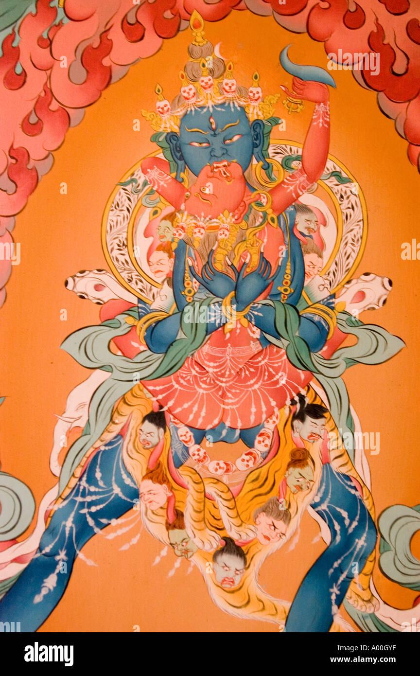 Deity with consort yab yum tantric mural painting Tibetan