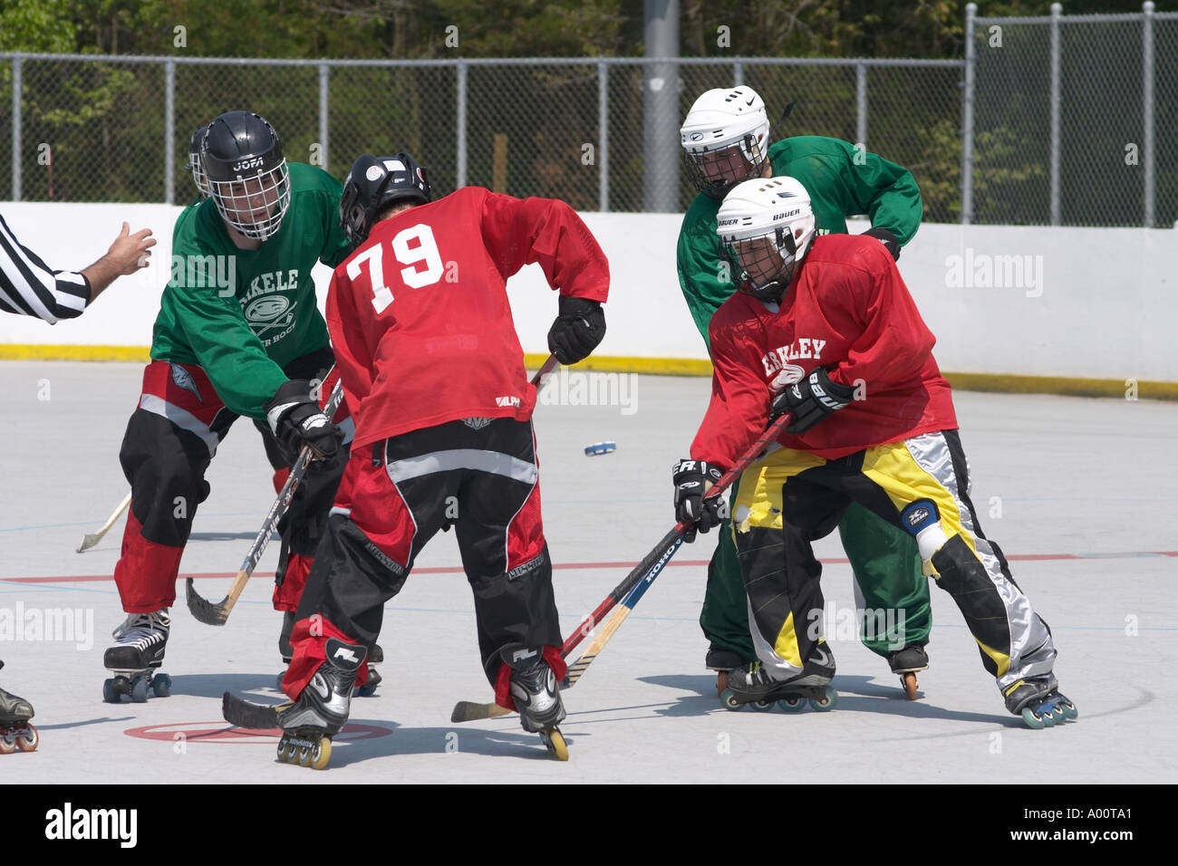 Roller Hockey Faceoff - Stock Image