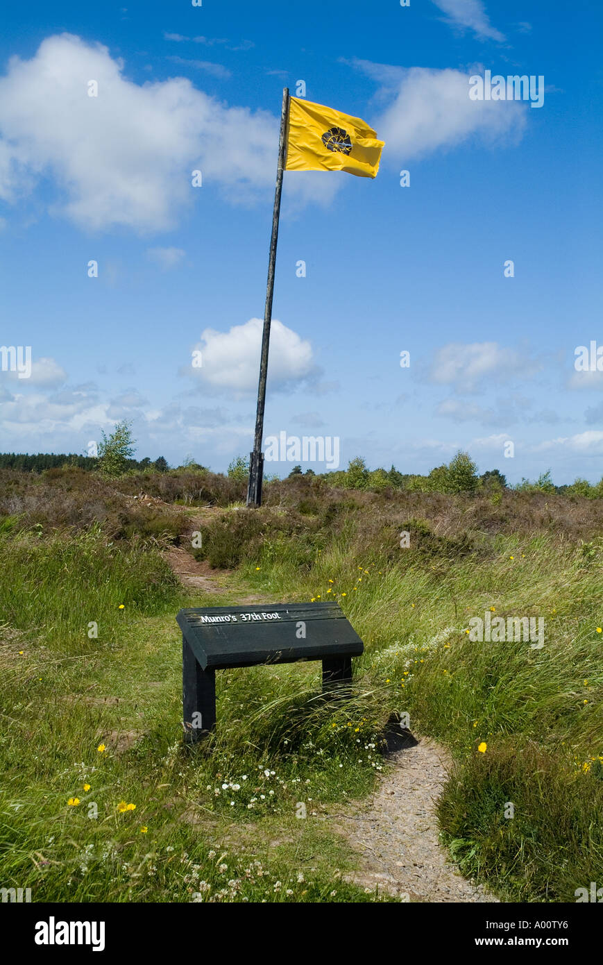 dh Culloden battlefield CULLODEN MOOR INVERNESSSHIRE Scottish army Flag Clan Munros 37 foot soldiers battlefields Stock Photo