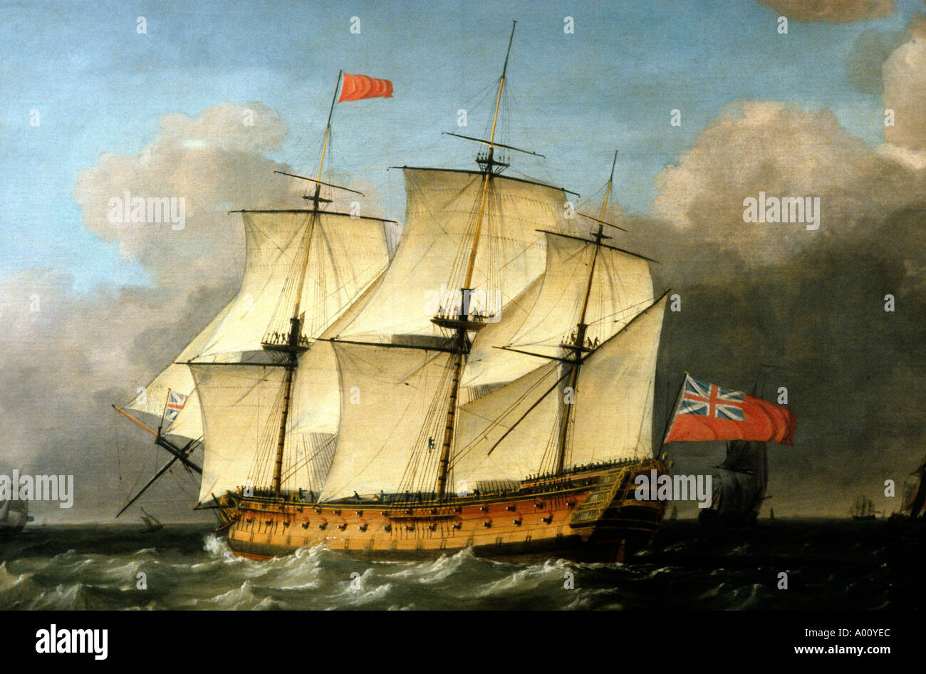 HMS Victory 1793 painting by Swaine England UK Admiral Lord Horatio Nelson war battle sailing ship Trafalgar Nelsonia ships - Stock Image