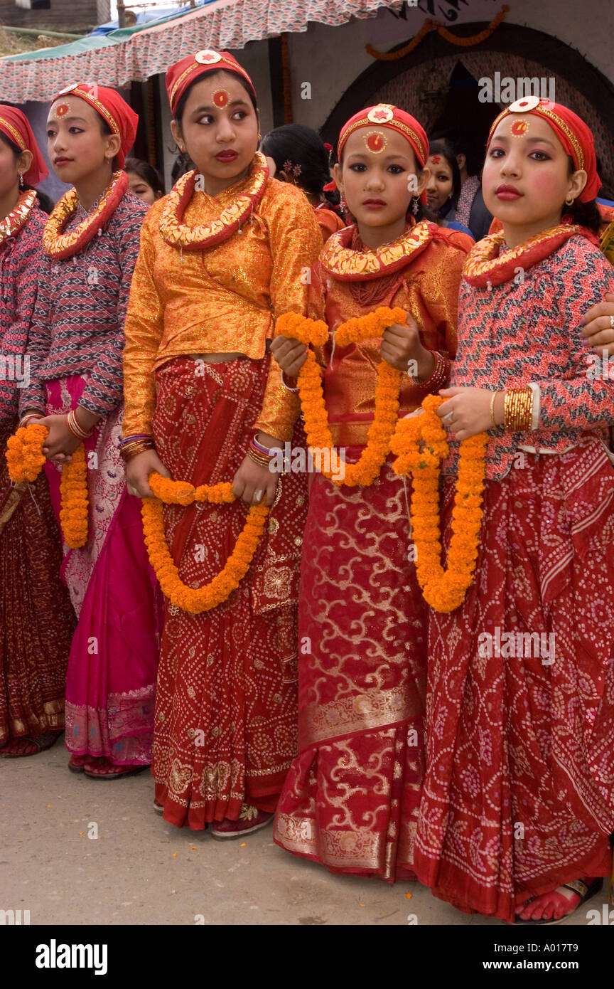 Portrait of traditional tribal dress Nepali women during ...