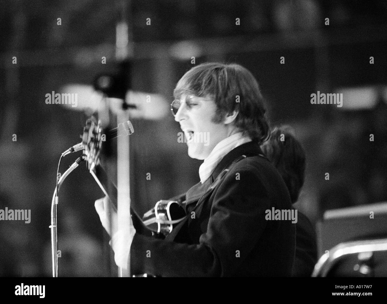 The Beatles, concert in Essen, Ruhr area, Gruga Hall, 1966, 1960s, the sixties, England, London, Great Britain, British pop band, music, musician, group, pop music, singers, John Lennon, guitar, b&w, black and white, black & white photography - Stock Image