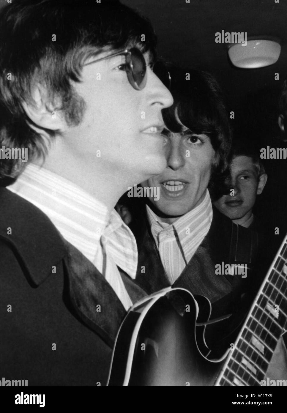 The Beatles, concert in Essen, Ruhr area, Gruga Hall, 1966, 1960s, the sixties, England, London, Great Britain, British pop band, music, musician, group, pop music, singers, John Lennon, guitar, George Harrison, b&w, black and white, black & white photogr - Stock Image