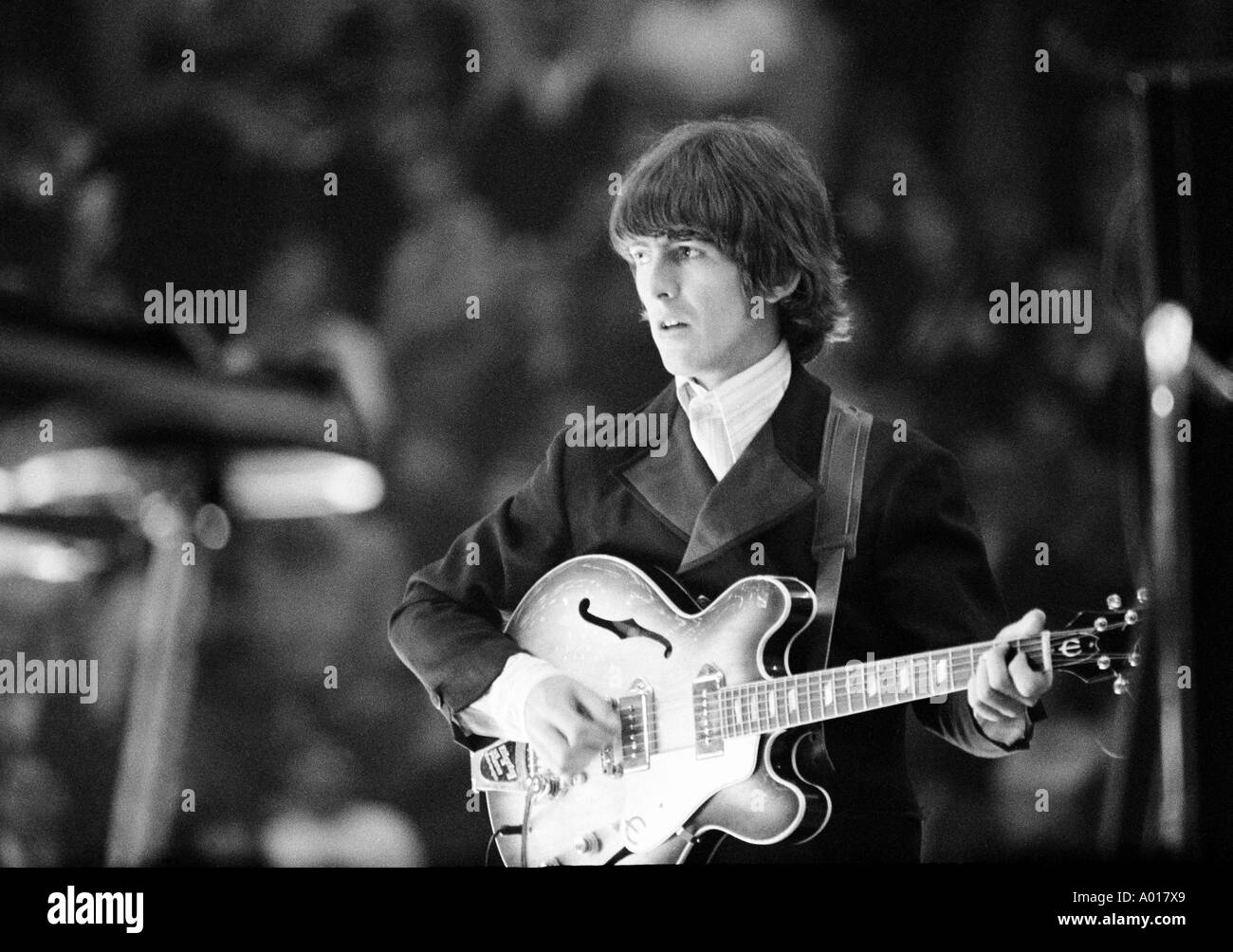 The Beatles, concert in Essen, Ruhr area, Gruga Hall, 1966, 1960s, the sixties, England, London, Great Britain, British pop band, music, musician, group, pop music, singers, George Harrison, guitar, b&w, black and white, black & white photography - Stock Image