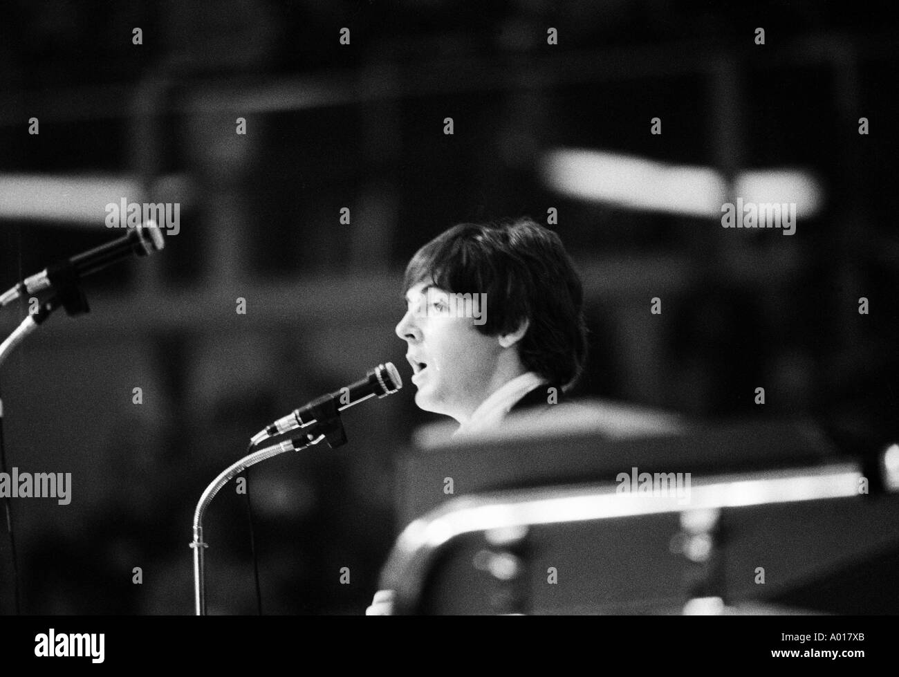 The Beatles, concert in Essen, Ruhr area, Gruga Hall, 1966, 1960s, the sixties, England, London, Great Britain, British pop band, music, musician, group, pop music, singers, Paul McCartney, b&w, black and white, black & white photography - Stock Image