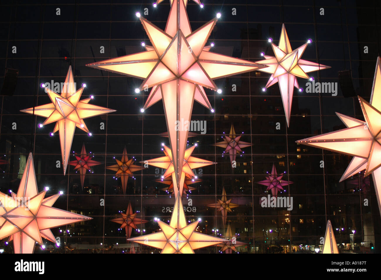 NYC Star decoration for Christmas in Time Warner Center at night ...