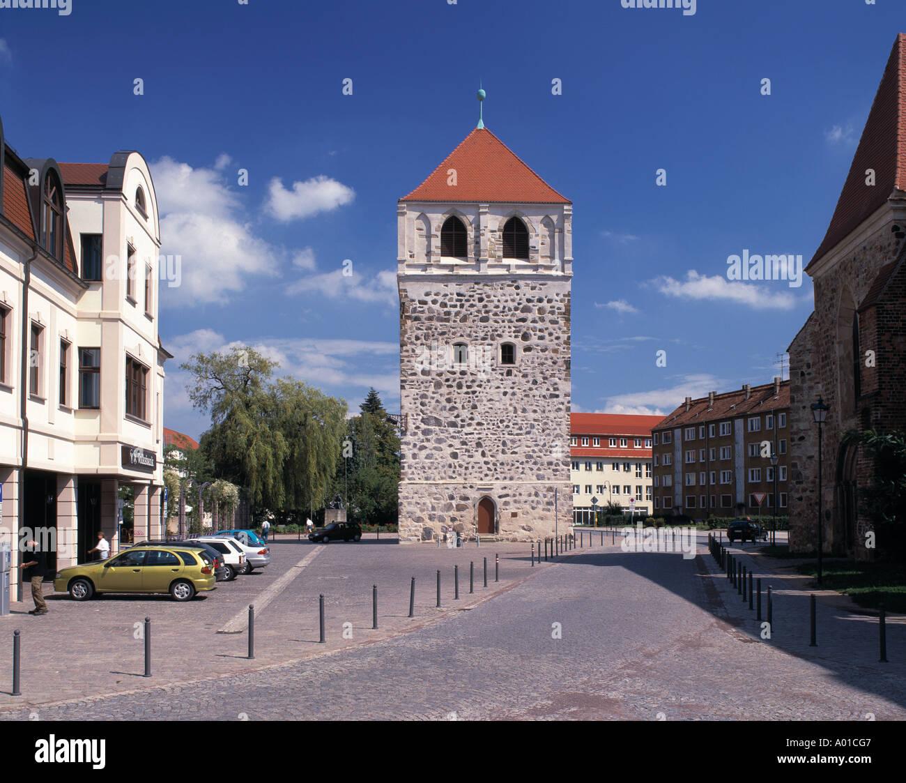 Dicker Turm an der Schlossfreiheit in Zerbst, Sachsen-Anhalt Stock Photo