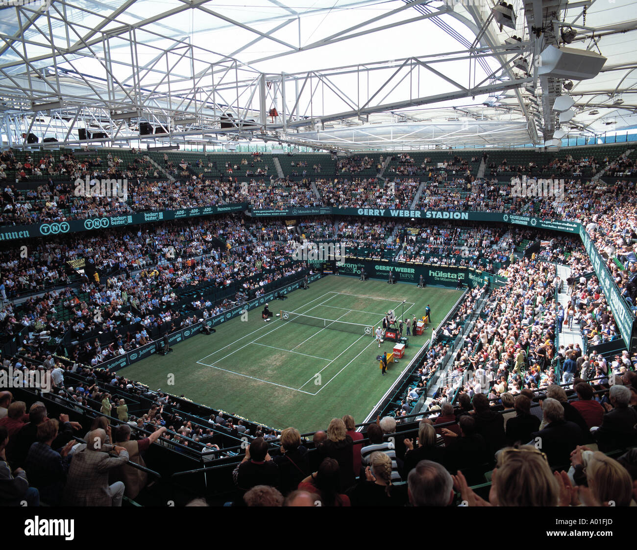D-Halle (Westfalen), Westphalia, North Rhine-Westphalia, tennis, Gerry Weber Stadium, court, covered court, interior Stock Photo