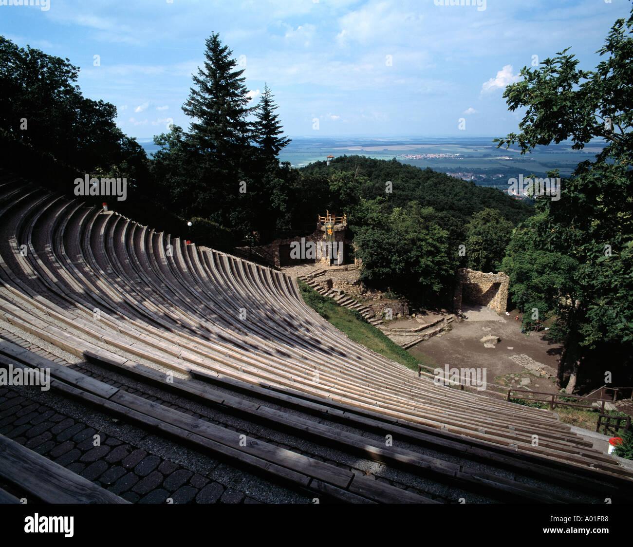 Bergtheater auf dem Hexentanzplatz-Plateau, Freilichtbuehne, Thale, Naturpark Harz, Sachsen-Anhalt Stock Photo