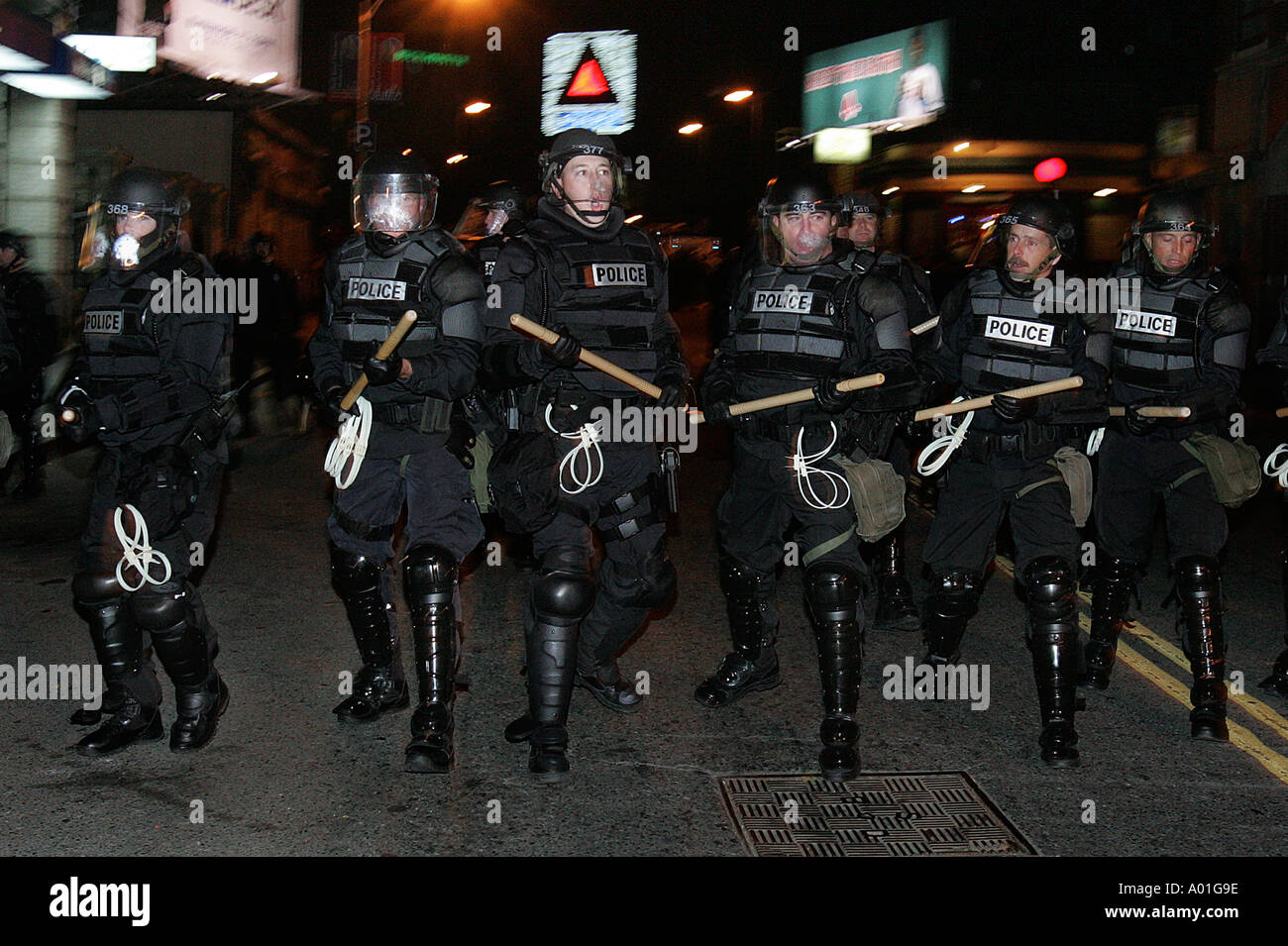 Riot equipped police, Boston, Massachusetts - Stock Image