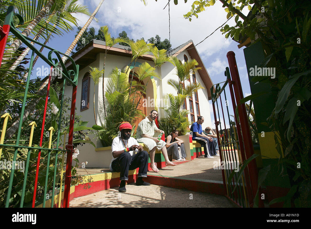 The gravesite and memorial of Bob Marley on the grounds of the childhood home of the famous reggae star - Stock Image