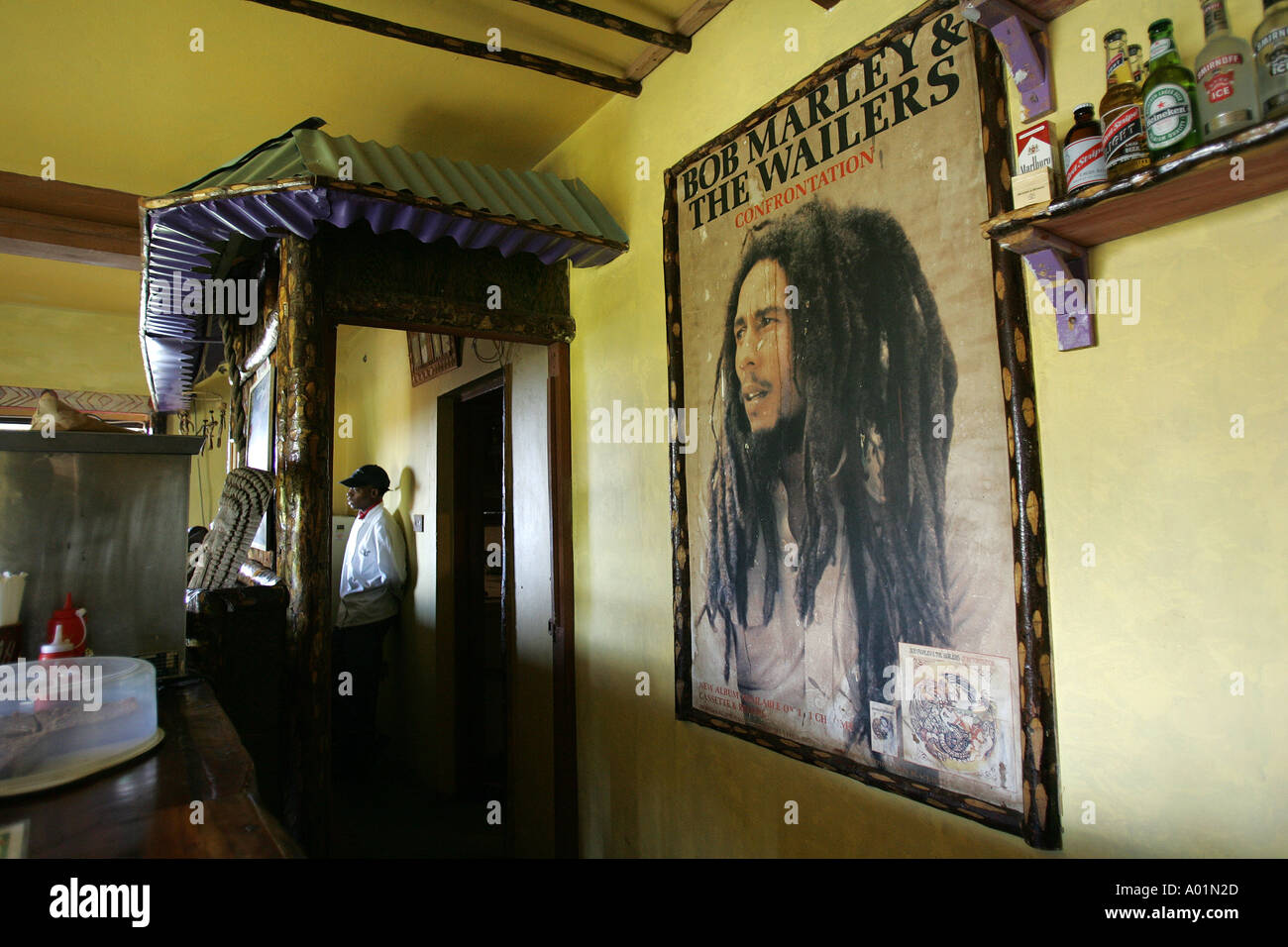 A poster of Bob Marley at the childhood home and gravesite memorial of the famous reggae star - Stock Image
