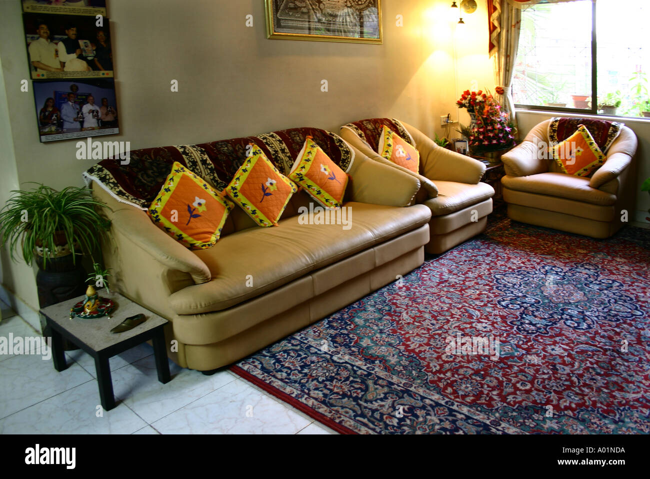 Interior Of Indian Living Drawing Room One Sofa Two Chairs Stock Photo Alamy