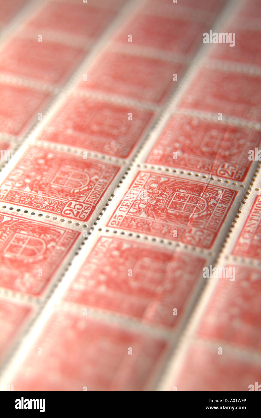 Old spanish stamps - Stock Image