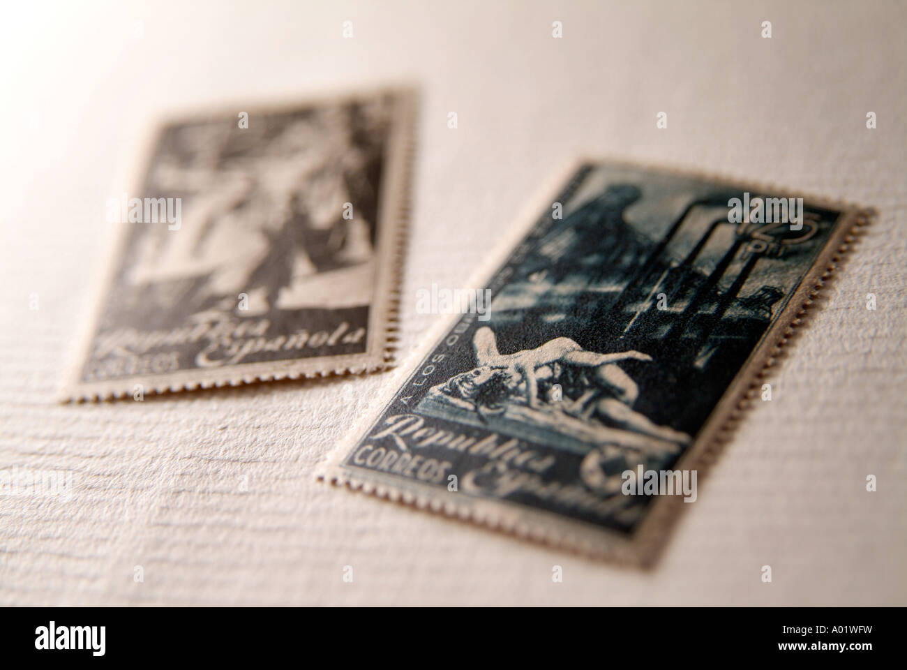Old Spanish Republic postage stamps. Early 1930's years - Stock Image