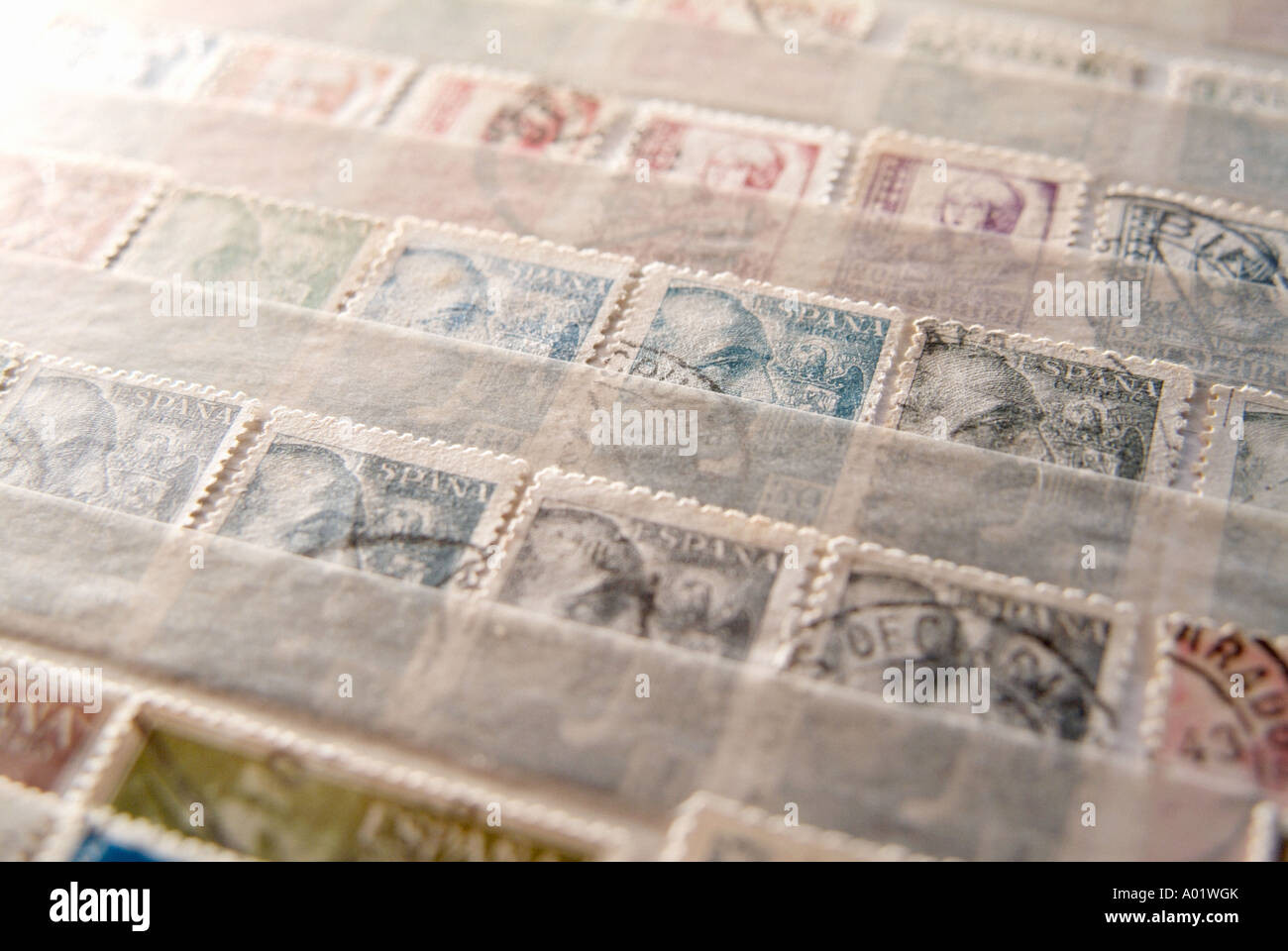 Old spanish postage stamps - Stock Image