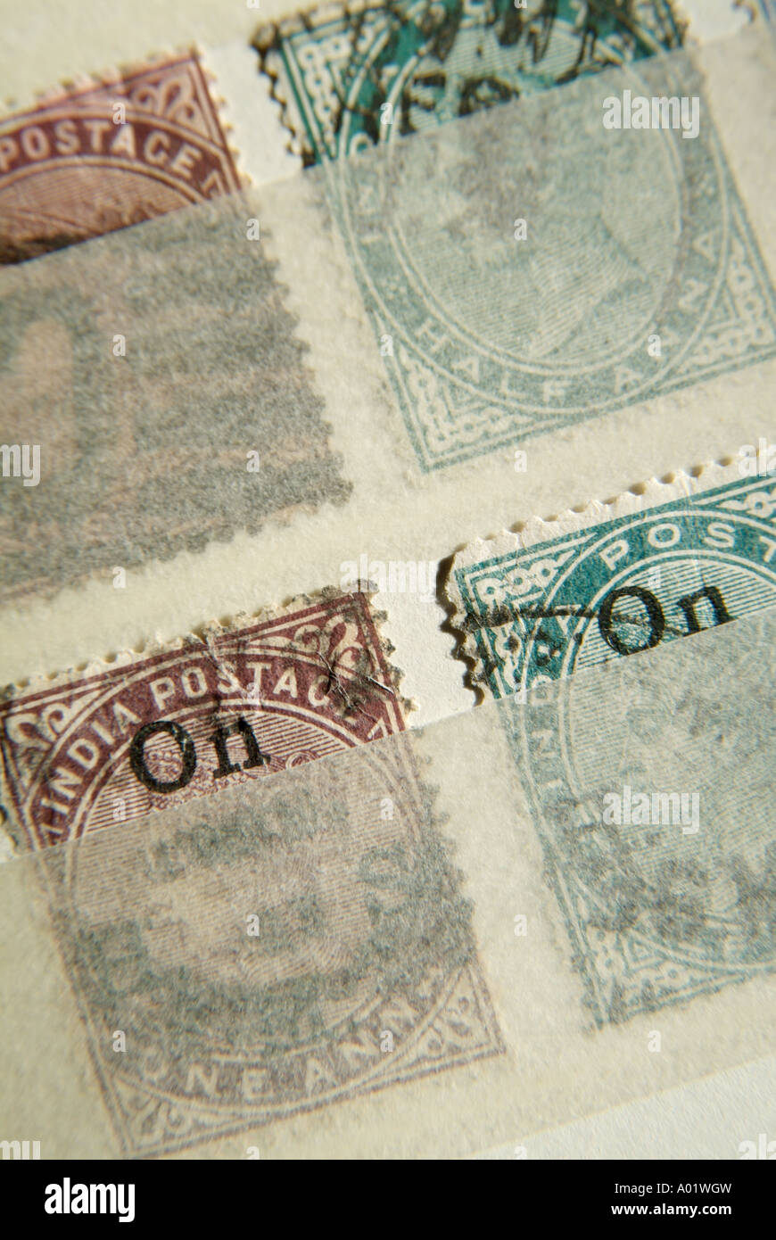 Old Indian British Colonial postage stamps - Stock Image