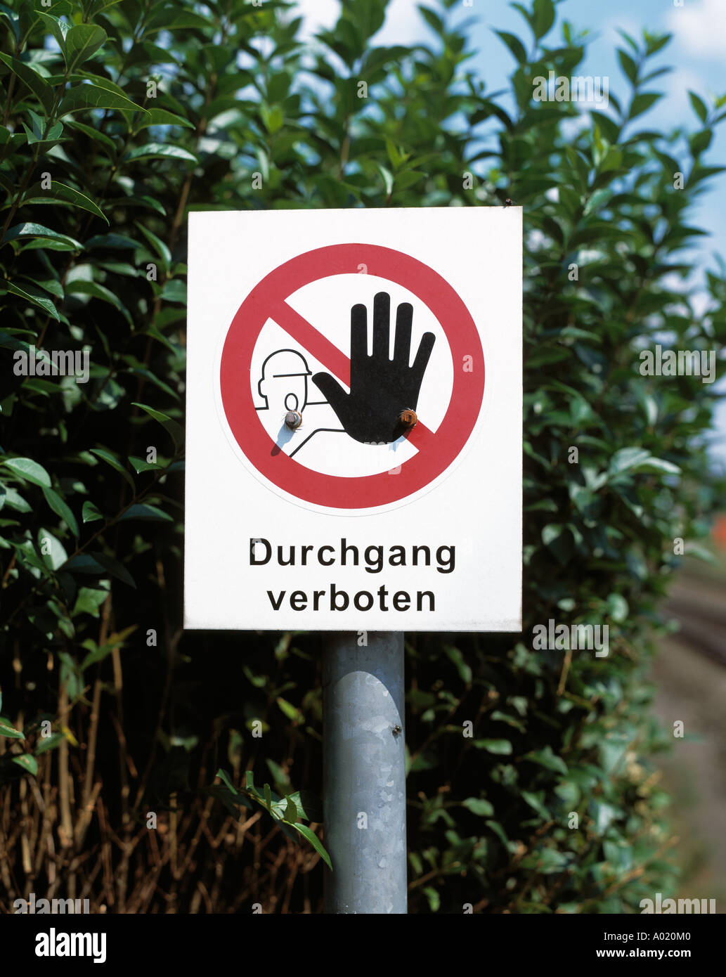 sign no through road, no throughfare, danger sign, no passing sign, warning to pedestrians and walkers, dangerous Stock Photo