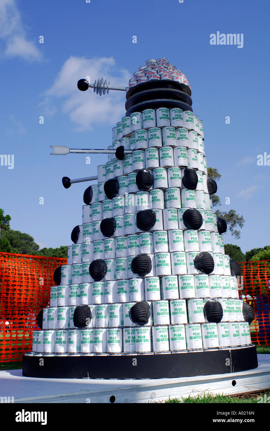 Dalek constructed from cans of fruit - Stock Image