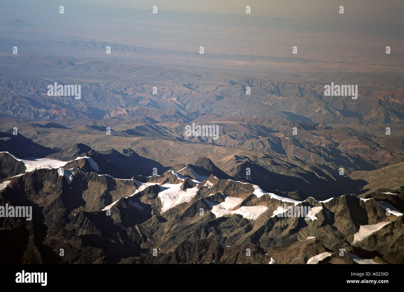 Aerial view the Andean foothills surrounding La Paz Bolivia whilst leaving from the capital s airport Cordillera Stock Photo