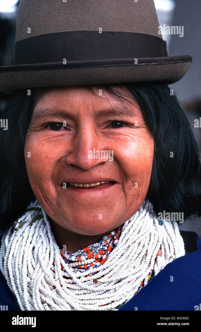Guambiano woman from the rural community of Silvia near Popayan S Colombia - Stock Image