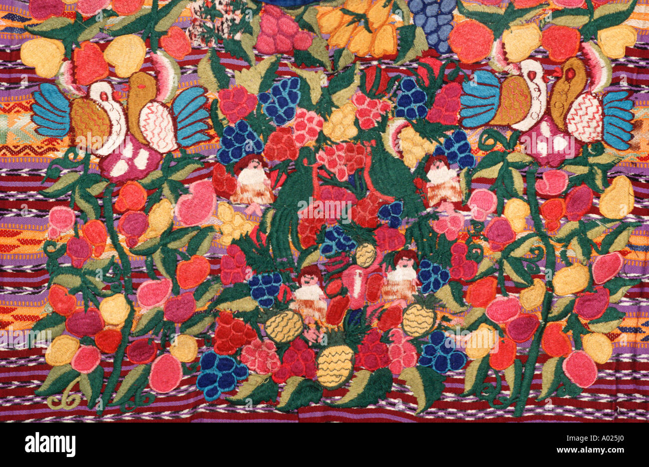 Detailed of a womans blouse called a huipil from Totonicapan Guatemala Central America Guatemalan Maya embroidery - Stock Image