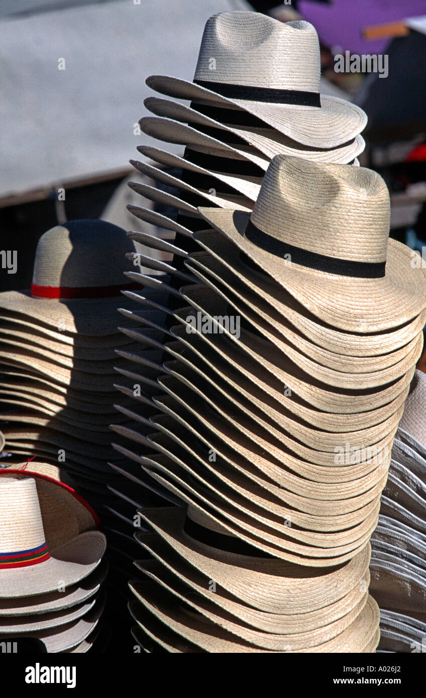 Stack of handmade hats for sale at San Francisco el Alto market the biggest market in Guatemala if not all Central America - Stock Image