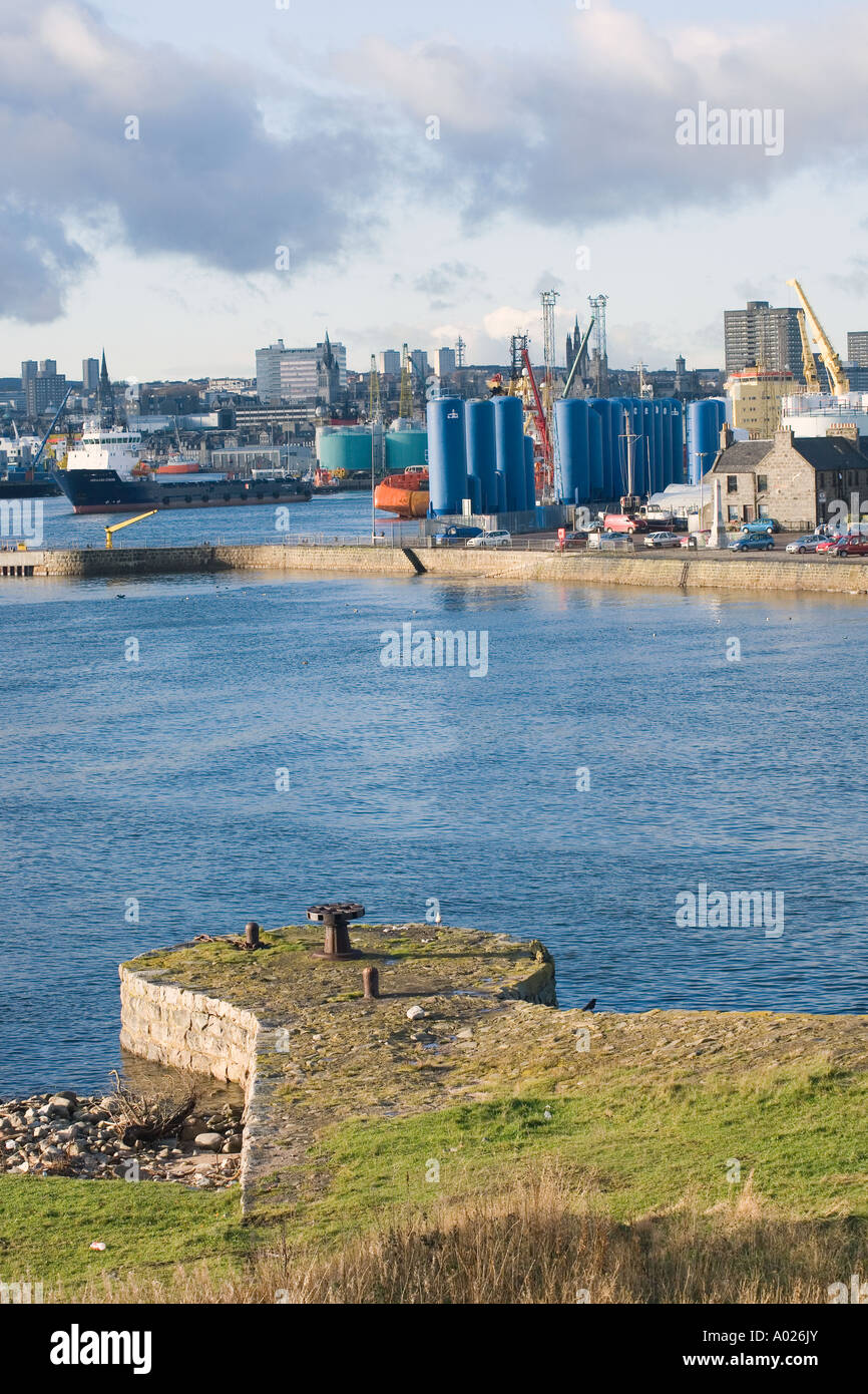 Aberdeen city harbour  and dock facilities _ Port in the North-east of Scotland.  Aberdeenshire Scotland uk - Stock Image